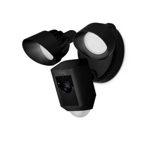 cheap home security camera by Ring - high quality rated, black color with white light LED sensor